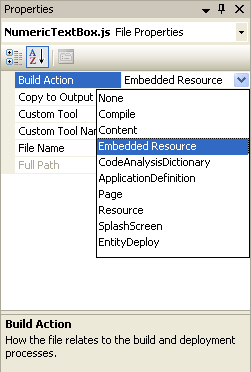 Change javascript file BuildAction property to Embedded Resource